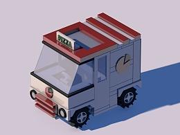 C4D入门教程第三课剧透----卖PIZZA的小车