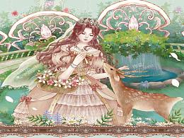 柄图印花公主花园