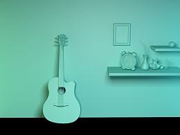 C4D基础,吉他设计,C4D作品,C4D练习,C4D模型建模,吉他、花瓶建模练习