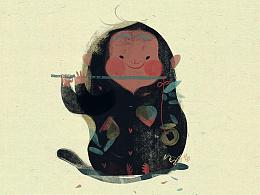 猴儿年画小猴儿