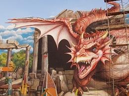 超大幅恐龙时代3D壁画墙绘立体画