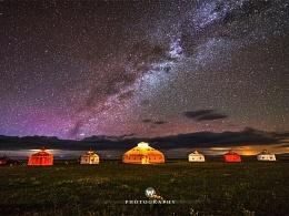 青海湖边蒙古包和银河局部