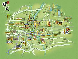 北京顺义区手绘旅游地图