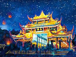 都江堰——南桥夜景