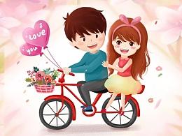 情侣漫画-卡通漫画-开屏-启动页设计