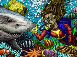深海系列——遇见白鳍鲨(手绘过程)
