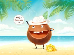 椰子卡通形象绘制