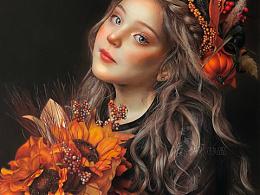 彩铅人物《秋实》