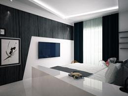 简约黑白风格室内设计【附CAD、3dsMAX、PS排版、效果图】