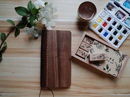 朴度/森系列皮木结合手帐本/手帐本/原创设计