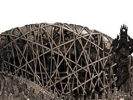 臧金龙钢笔画专利技法作品《从鸟巢到伦敦碗》局部展示
