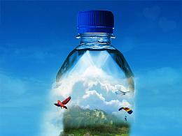创意矿泉水、海报合成  饮料合成海报