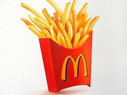 彩铅插画—麦当劳薯条(附教程)