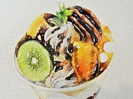 金鱼手绘美食——水果冰淇淋
