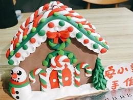 圣诞房子储存罐粘土手工