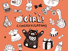 庆祝宝宝出生贺卡!