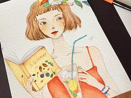 水彩插画   临摹的女孩儿