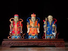 铜师傅 全铜摆件《福禄寿三星(彩绘)》铜工艺品 家居饰品 摆件