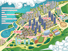 万科房地产.手绘地图小区度假区旅游定制设计