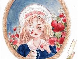 """水彩手绘""""少女与动物"""""""