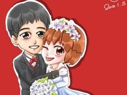 『℃』第一次画结婚贺图呐。。。
