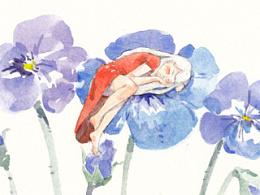 水彩习作:花和女人3