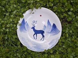 【初于蓝工作室】——12只青花麋鹿