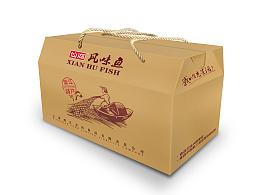 一组食品鱼的包装