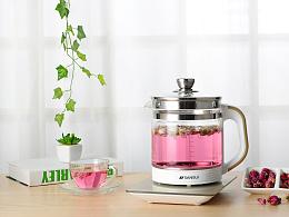 一个小家电类小电器类电烧水壶花茶壶养生壶拍摄原片直出