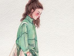 水彩森系少女步骤
