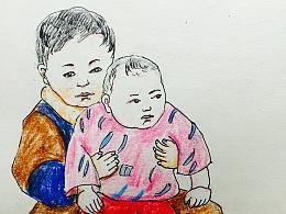 手绘彩铅童年