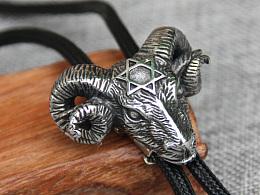 原创设计 不锈钢白羊座男女羊头bolo tie 波洛领带衬衣项链毛衣链