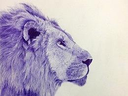 狮子  圆珠笔