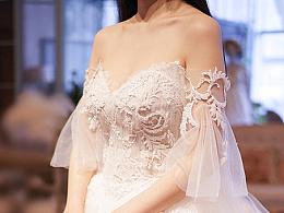 很仙也可以很复古,遮手臂露美背,葡萄园婚纱礼服