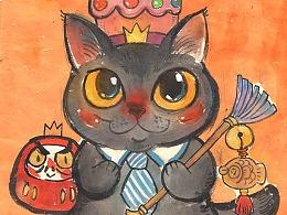 头顶猫粮,心中不慌——一组猫咪涂鸦