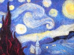 羊毛毡画星空
