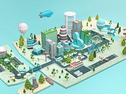 C4D城市建模