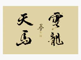 半堂行书楹联两幅:云龙博浪,天马行空