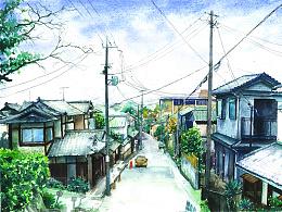 水彩小街道