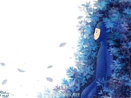 蓝叶下的小蓝人