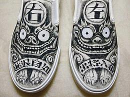 自己涂了一双帆布鞋