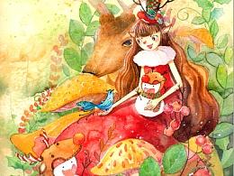 水彩 手绘 平安夜 圣诞节 雪人 麋鹿 插画