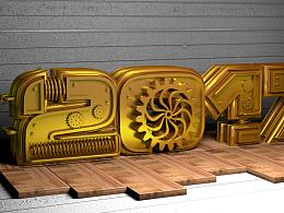 3D 机械文字建模练习~~ C4D 练习
