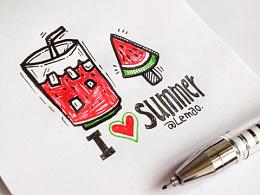 手绘一组西瓜味的夏天