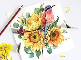水彩·致阴天的向日葵