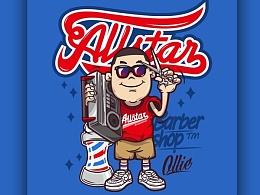 ALLSTAR Barber graphic design