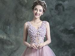 HK粉色伴娘装深V领新娘透视露背晚宴年会短款婚纱小礼服2017新款624