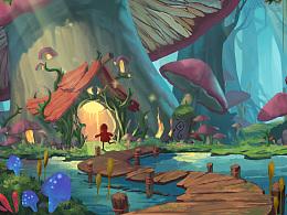 插画 奇幻蘑菇森林