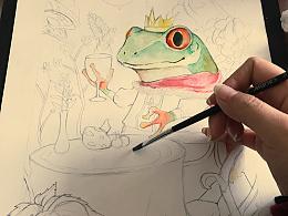 「水彩作品」青蛙王子练习作。