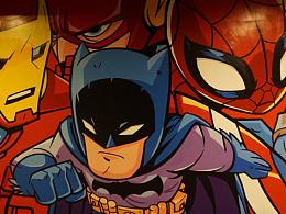 电影院墙体壁画-卡通英雄威漫